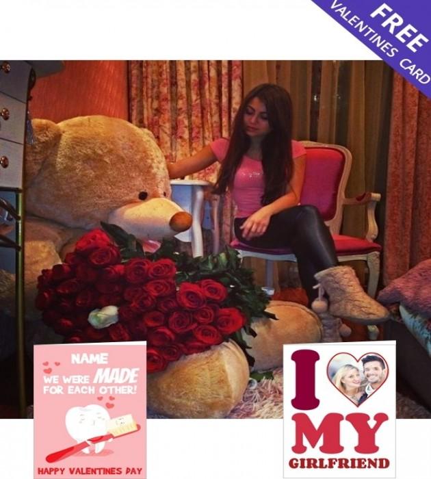 Giant Teddy & Dozen Roses (5ft)