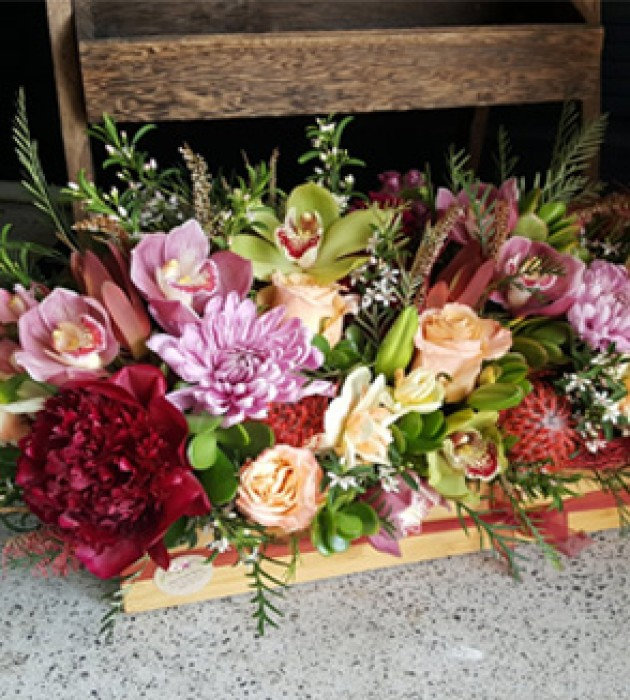 Pink Red Flower Crate