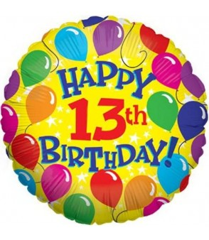 "13th Yellow Birthday Balloons 18"" Foil Balloon"