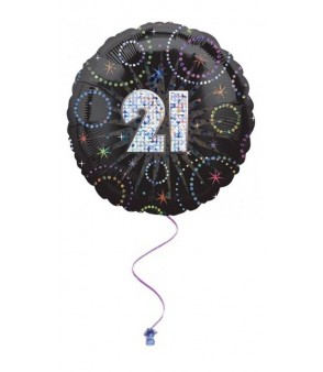 "21st Time To Party Prismatic 18"" Foil Balloon"