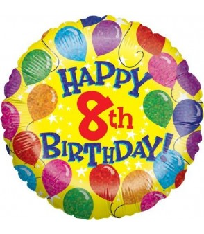 "8th Yellow Birthday Balloons 18"" Foil Balloon"