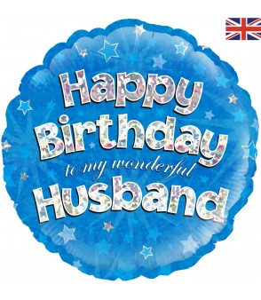 Holographic Happy Birthday Husband Balloon