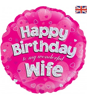 Holographic Happy Birthday Wife Balloon