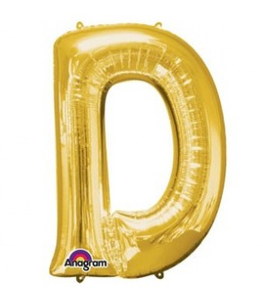 Letter D Gold SuperShape Balloon