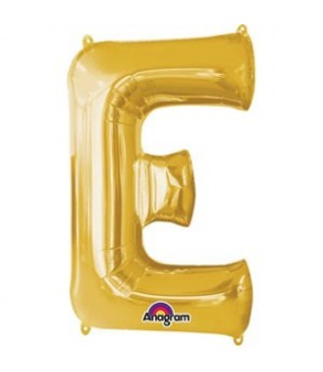 Letter E Gold SuperShape Balloon