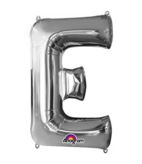Letter E Silver SuperShape Balloon