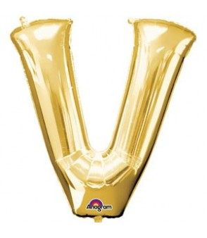 Letter V Gold SuperShape Balloon