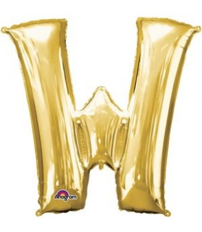 Letter W Gold SuperShape Balloon