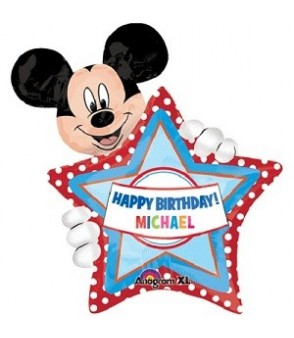 Mickey's Birthday Personalized Balloon 30in