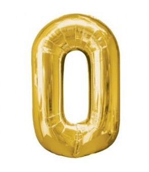 Number 0 Gold Large Shape Balloon