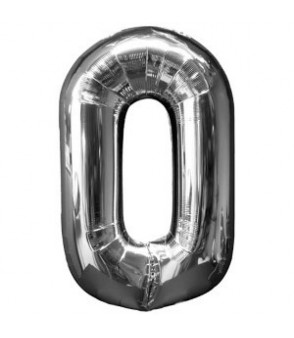 Number 0 Silver Large Shape Balloon