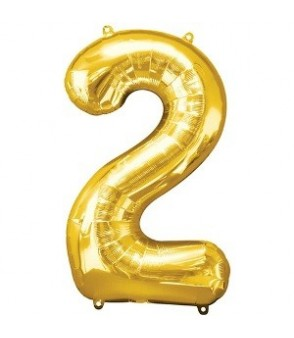 Number 2 Gold Large Shape Balloon