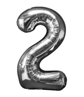 Number 2 Silver Large Shape Balloon