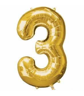 Number 3 Gold Large Shape Balloon