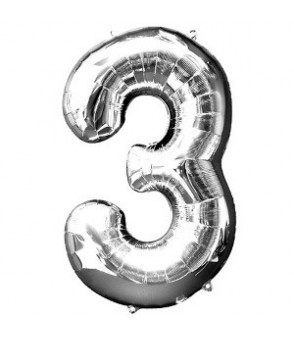 Number 3 Silver Large Shape Balloon