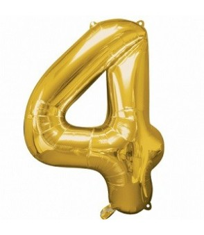 Number 4 Gold Large Shape Balloon
