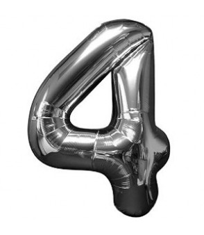 Number 4 Silver Large Shape Balloon