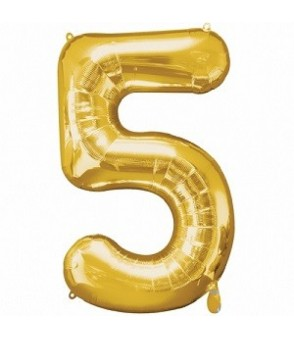 Number 5 Gold Large Shape Balloon