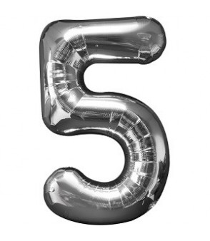Number 5 Silver Large Shape Balloon