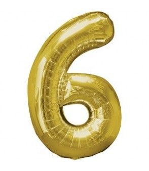 Number 6 Gold Large Shape Balloon
