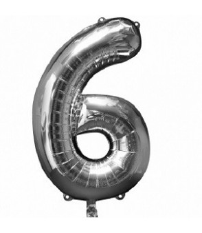 Number 6 Silver Large Shape Balloon