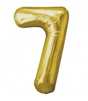 Number 7 Gold Large Shape Balloon
