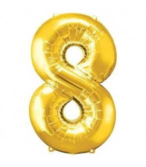 Number 8 Gold Large Shape Balloon