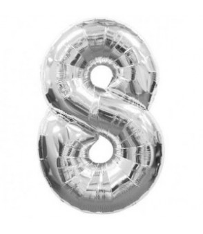 Number 8 Silver Large Shape Balloon