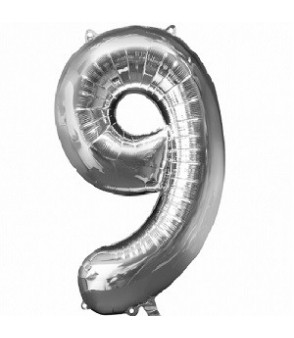 Number 9 Silver Large Shape Balloon