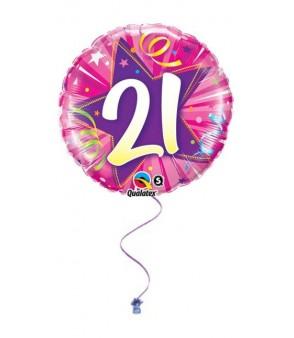 "Pink 21"" Birthday Foil"