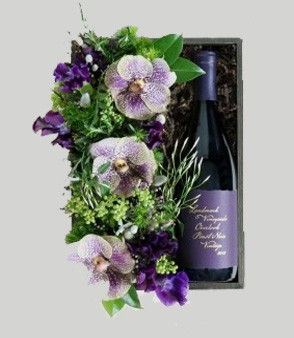 Vanda Orchid Flower Crate With Wine