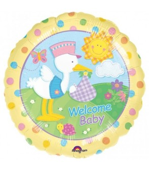 Welcome Baby Stork 18 Foil Balloon